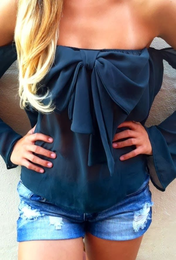 Off Shoulder Black Bow Blouse With Shorts