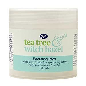 Tea tree exfoliating pads help shrink pores and are great for all skin types. They also smell amazing.