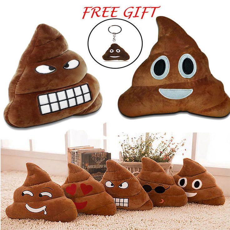 35Cm Emoji Poo Shape Smiley Angry Face Emoticon Cushion Pillow Stuffed Xmas Gift