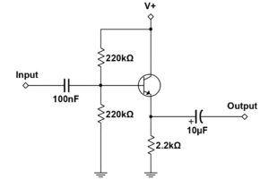 BJT Buffer Schematic - Voltage Divider Bias Method