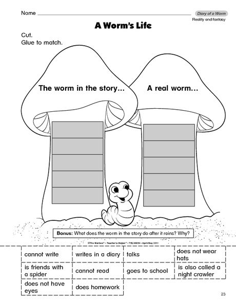 Literacy concept: a good way to distinguish between a real worm and the worm in the story. It also uses words to fill the blanks.