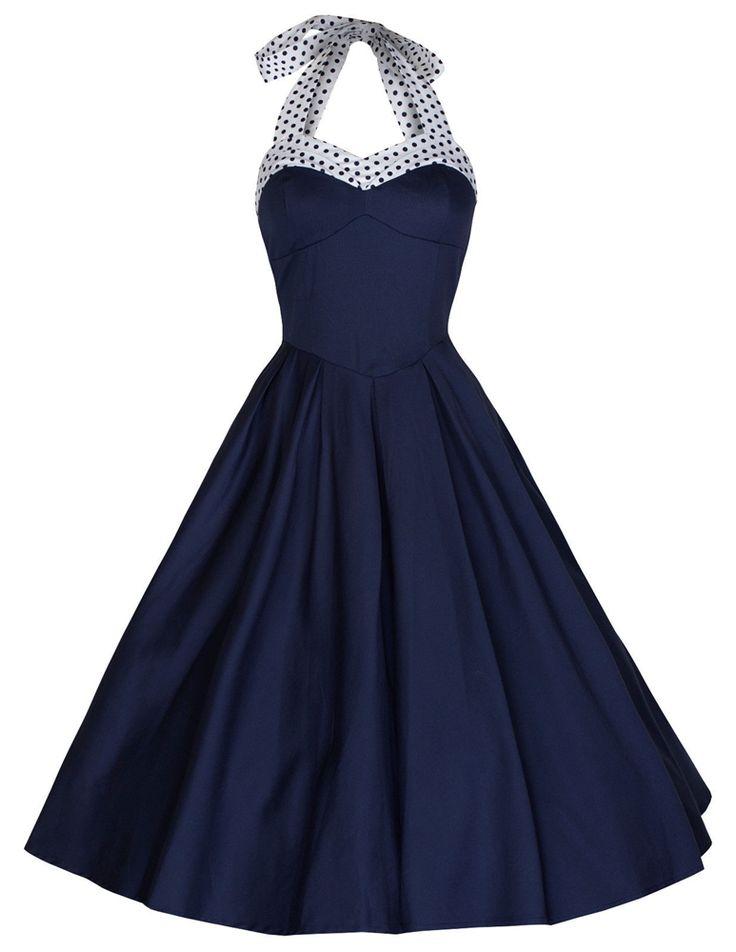 Blue Halter Pin Up Dress Vintage Style Dresses Full Circle