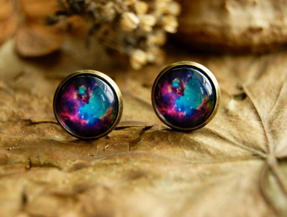 Space galaxy glass dome 12 mm stud earrings  by InviolaJewerly