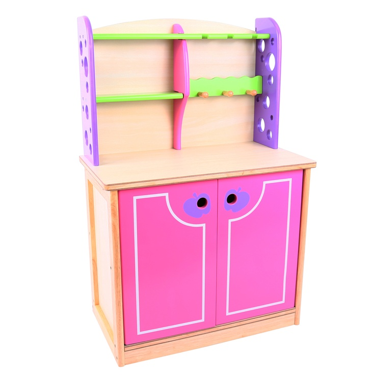 As found in lots of the most distinguished kitchens, this dresser is sure to add a touch of class. It can show off all your little one's favourite kitchen items - with three shelves and three hooks, there's plenty of space to display pretty cups and saucers. In addition, a large cupboard can hide away plenty more bits and pieces underneath. Ages 3 years and up. 1 play piece. Requires adult assembly. COMING SOON!
