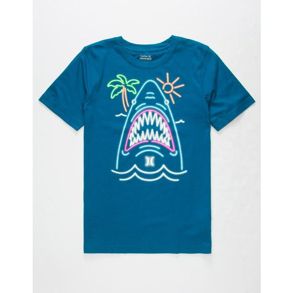 Hurley Neon Shark Boys T-Shirt ($18) ❤ liked on Polyvore featuring men's fashion, men's clothing, men's shirts, men's t-shirts, mens short sleeve t shirts, mens neon shirts, mens neon t shirts, mens graphic t shirts and mens short sleeve shirts
