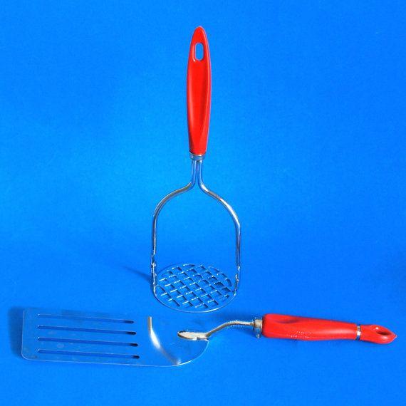 Retro Frescoware Red Chrome Kitchen Utensils  by FunkyKoala