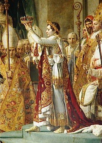 Kroning van keizer Napoleon I en de kroning van keizerin Josephine in de kathedraal van de Notre Dame in Parijs op 2 december 1804.