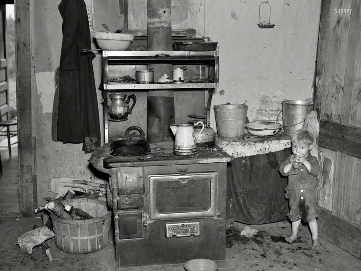"June 1937. ""Child of Earl Taylor in kitchen of their home near Black River Falls, Wisconsin."" Photo by Russell Lee, Resettlement Administration.Shorpy Historical Photo Archive"