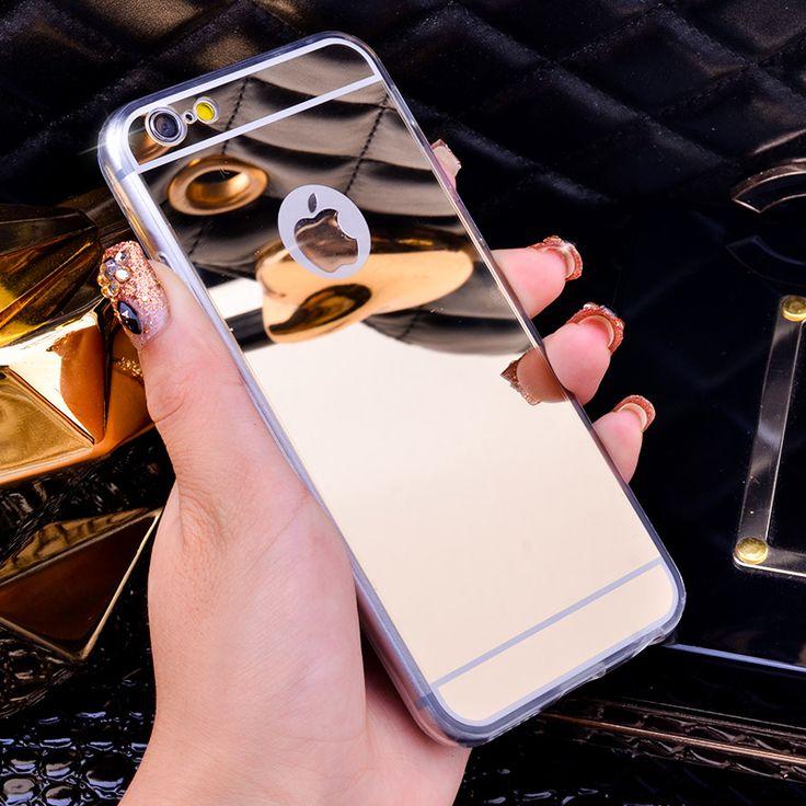 高級新しいファッションミラーソフトtpuバックカバーケースのためのapple iphone 4 4 s 5 5 s se 6 6 s 6プラス6 s-plus 7 7プラスケースcapaシェル