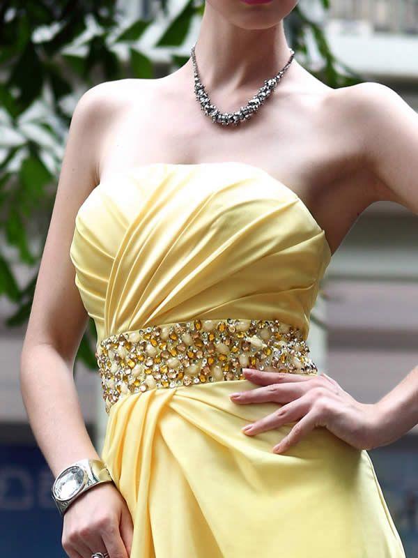 Yellow Floor Length Beaded Evening Dress with Criss-cross Bodice
