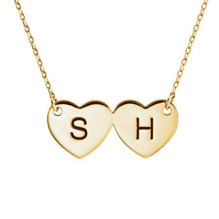 14 Karat Gold Double Heart Initial Necklace, add you own letters - click to get yours right now!