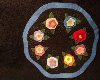Wool Felt Candlemat  Flowers  Wool felt by CarolynCreatesCrafts
