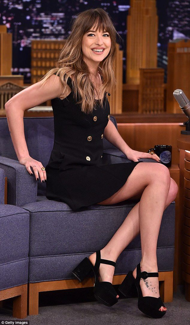 Legs for days: Dakota Johnson put her long legs on display while visiting The Tonight Show Starring Jimmy Fallon on Monday