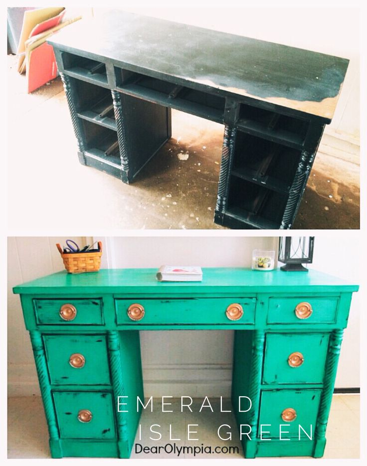 Cece Caldwells Paints Emerald Isle Green Dresser Gold Hardware Painted Furniture Natural