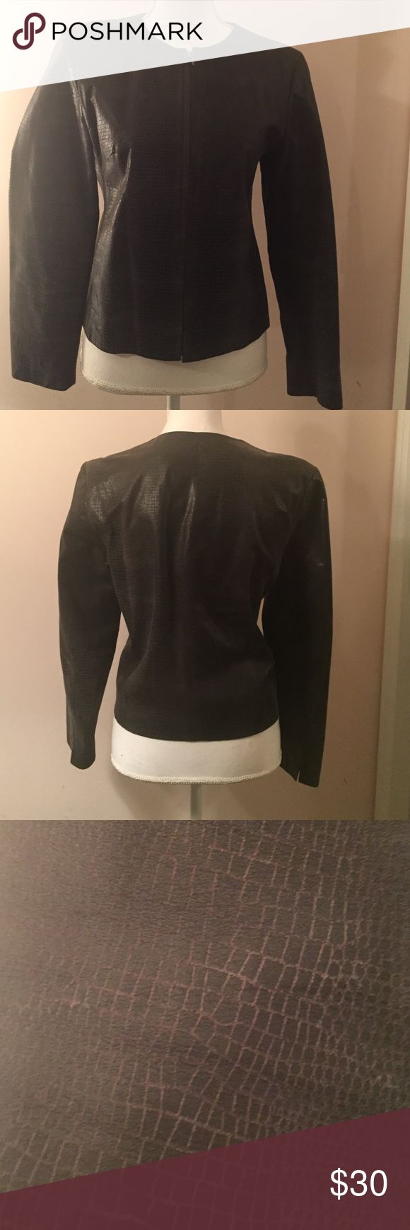 🔥Black Leather Real Alligator embossed jacket🔥 🏆🏆🏆From Lord and Taylor black short leather jacket measuring 20 inches long Lord & Taylor Jackets & Coats