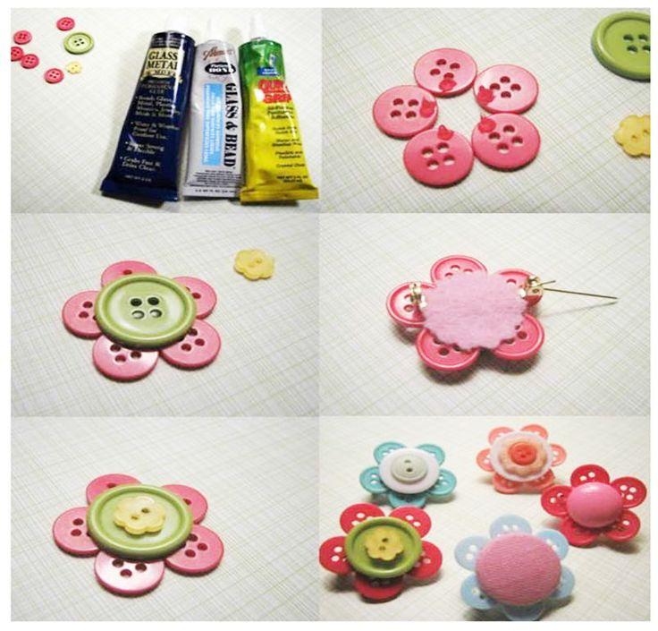 Broche con forma de flor hecho con botones,DIY,TUTORIALS