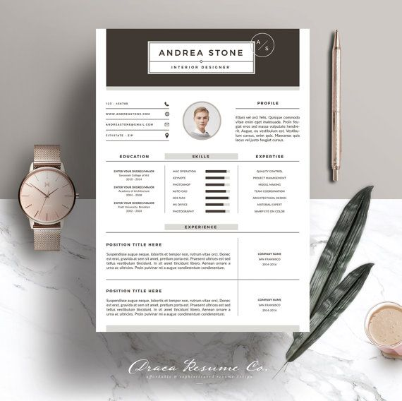 Resume Template 3pages for Interior Designer  CV by DracaResume