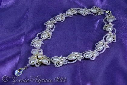 """Wedding decoration on the neck, a necklace for the bride of lace jewelry with natural pearls from """"Dreams"""" collection."""