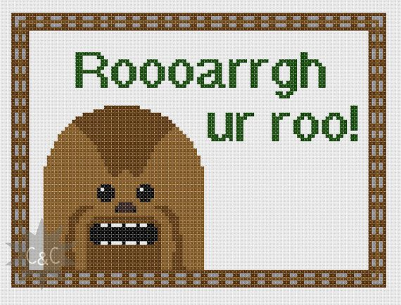 Star Wars Chewbacca quote cross stitch sampler by CapesAndCrafts, £2.30