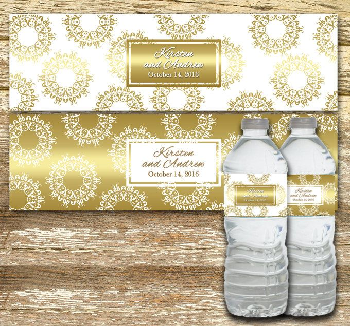 A personal favorite from my Etsy shop https://www.etsy.com/ca/listing/457605722/gold-water-bottle-labels-wedding-water