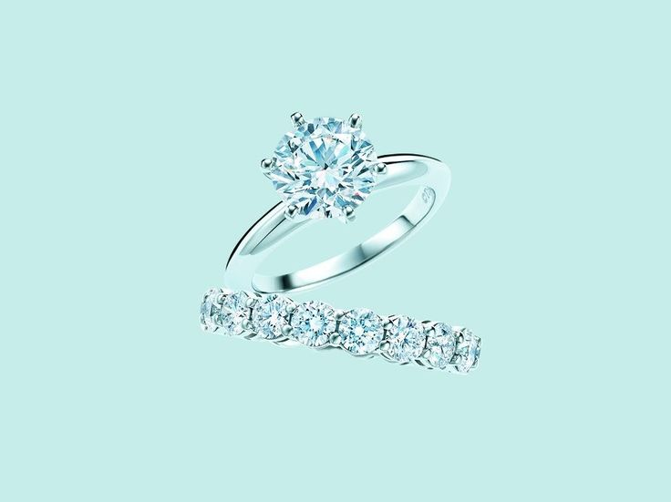 """Tiffany wedding band and engagement ring! Perfection! (I do like my 4 prong """"Cartier"""" setting though)"""