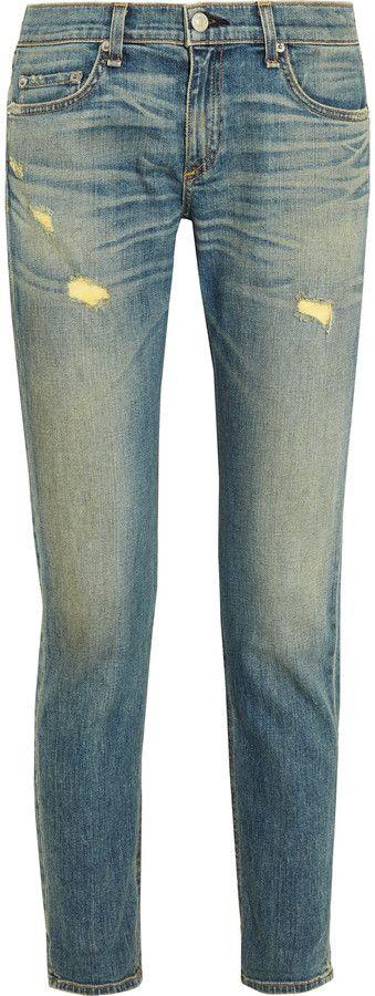 Rag & bone Dre distressed mid-rise slim boyfriend jeans