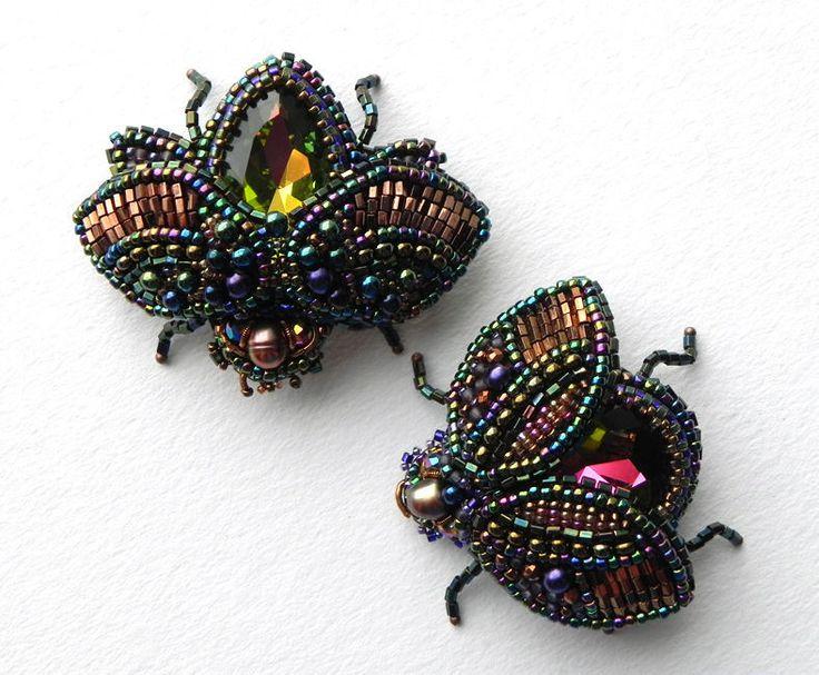 """Купить Комплект брошей """"Весна близко))"""" - комбинированный, радужный, медный, жуки, брошь-жук"""