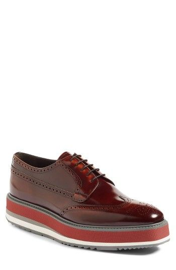 Free shipping and returns on Prada Platform Wingtip (Men) at Nordstrom.com. Classic brogue panels punch up a stylish Italian wingtip perched on a head-turning creeper sole for undeniable style.