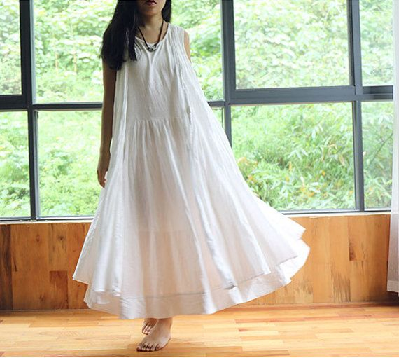 Summer Plus Size Clothing White Linen Dress by Royaldress on Etsy