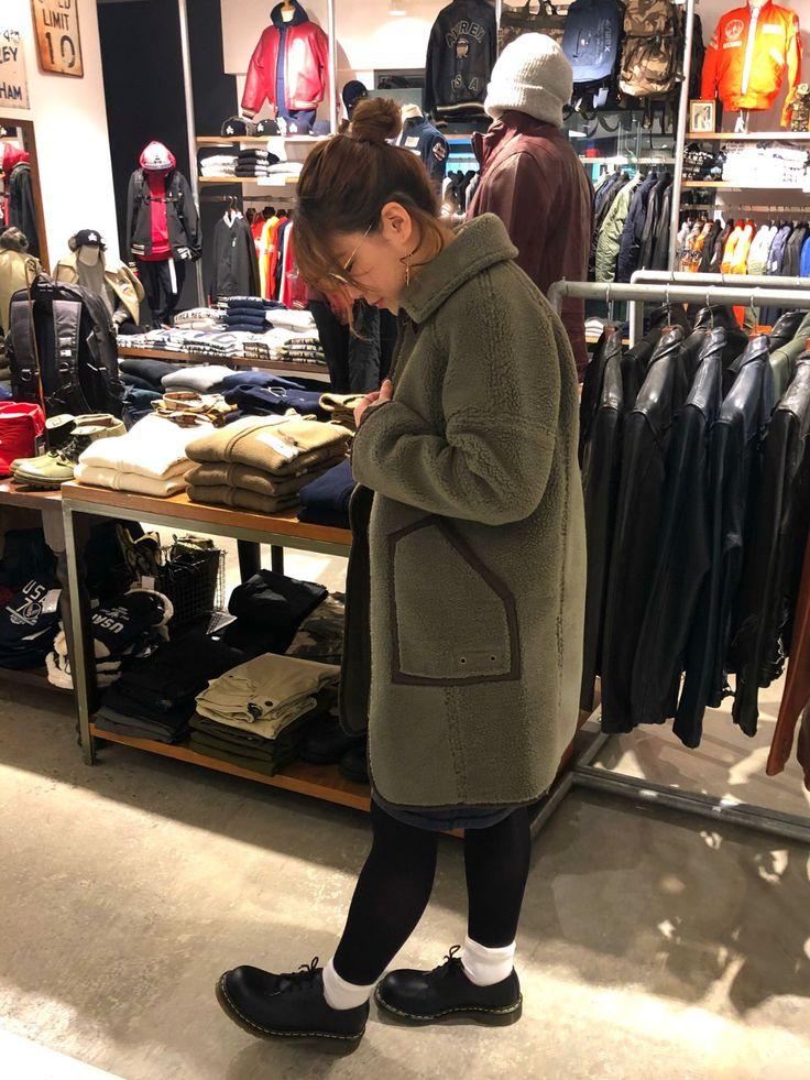 AVIREX梅田店/ボアコート シンプルなコートでキメてみました! ワンカラーで何にでも合わせて着ていただけます♪♪  AVIREX梅田店Style 2017.12.31  コート/M 162cm
