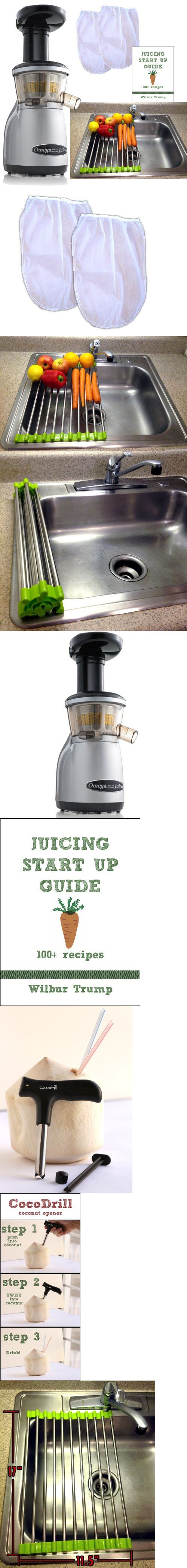 Omega VRT350 Juicer + Folding Drain Rack + 2 Nut Milks Bags + Juicing Book,Recipes + CocoDrill Coconut Tool Heavy Duty Vertical Single Auger Low Speed Juicer, The Omega Model VRT350 VERT Juicer is a revolutionary product that features the high efficiency of a masticating style juicer in a vertical design. The VERT is designed to be compact, contemporary and..., #Kitchen, #Masticating Juicers, $389.99