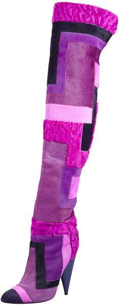 Tom Ford Purple Geometric Patchwork Fur Overtheknee Boot