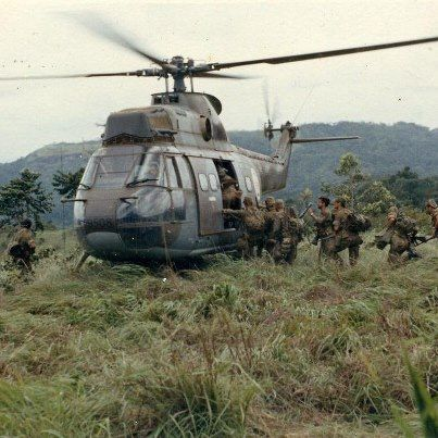 NORTH OF ANGOLA - Recovering from a group of paratroopers by PUMA helicopter after an operation in northern Angola.