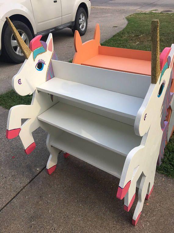 Handmade wood unicorn childrens bookshelf