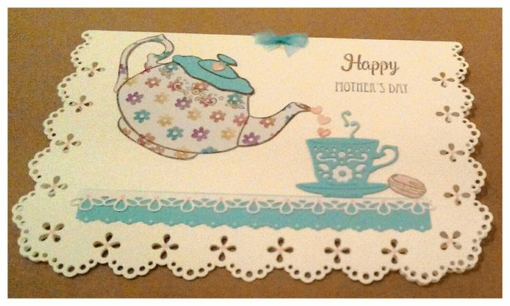 Card made using free die and stamps in issue 159 of Simply Cards and Papercraft magazine. Stamped teapot on two different papers before paper piecing.