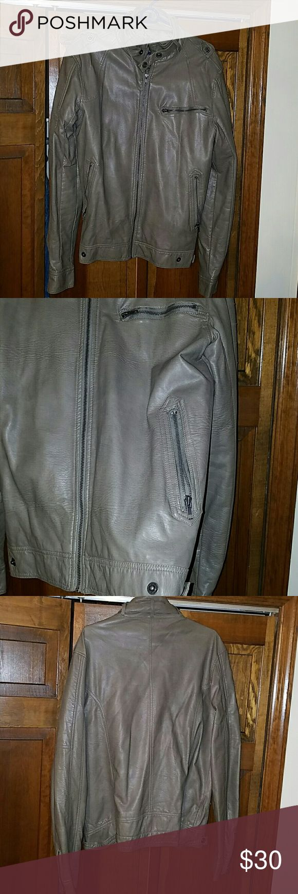 Men's faux leather jacket Faux leather jacket in a cool grey perfect to throw over a nice sweater. A great statement piece for any guy wanting to add edge to his wardrobe Charles And A Half Jackets & Coats Military & Field