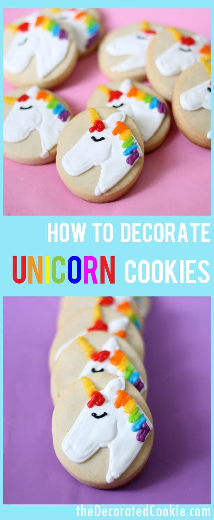 How to decorate simple unicorn cookies on ovals or circles. Unicorn food, fun food for a rainbow party.