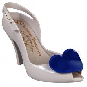 Vivienne Westwood Anglomania + Melissa Lady Dragon Pearl Cobalt Blue Heart slingbacks sling backs grey gray dark
