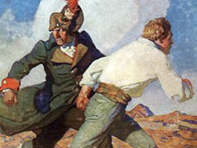 Detail from Robert Louis Stevenson's 'Kidnapped' cover by N C Wyeth, 1913