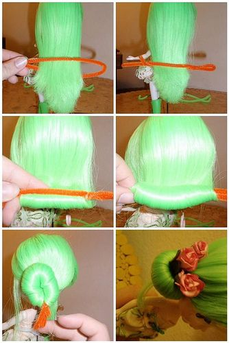 DIY pipe-cleaner hair bun  (okay, this is a Blythe, but its a useable idea, maybe?)