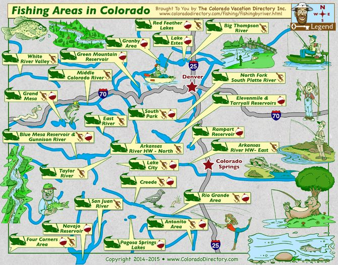 Colorado Map of Fishing in Rivers Lakes Streams Reservoirs