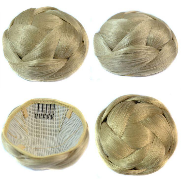 Q85    Synthetic chignon hair braided bun hairpiece  color of 88#  clip in bun chignon bun hairstyles