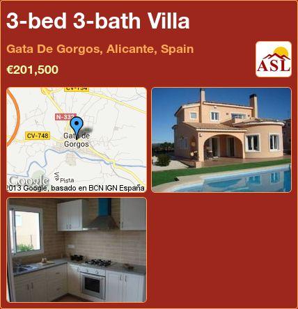 3-bed 3-bath Villa in Gata De Gorgos, Alicante, Spain ►€201,500 #PropertyForSaleInSpain