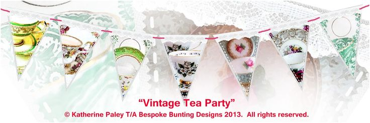 Bunting for shop windows.  This design would look great in tea shop!