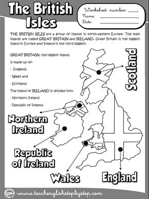 The British Isles - Worksheet (B & W version)