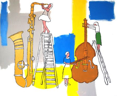 Hugh Ford  Sax and Violins - 2013 Acrylic on canvas 100 x 84 cm $3500  Solo Show - 'Nostalgic For Now' 01/03/2014 - 12/04/2014