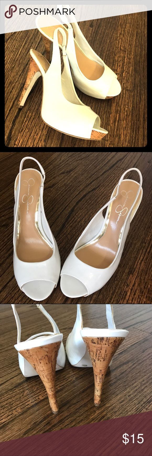 Jessica Simpson heels Beautiful shoes! They are in good used condition. I tried to show a lot of views. Minimal scuffs. Jessica Simpson Shoes Heels