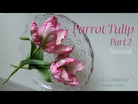 How to make a gumpaste Parrot Tulip Tutorial Part 2 - Parrot Tulip Leaves