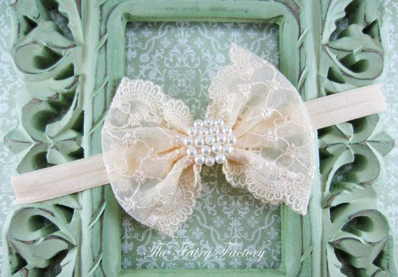 Cream Hair Bow, Cream / Ivory Lace Hair Bow w/ Pearls Headband or Hair Clip, The Sophia, Baptism, Christening, Baby Child Girls Headband