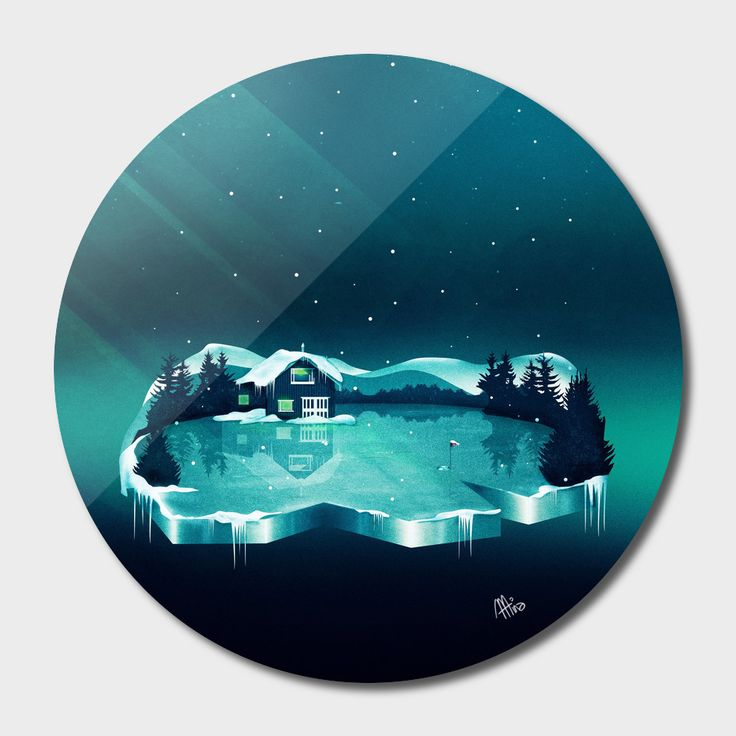 «Frozen Magic», Exclusive Edition Disk Print by Schwebewesen - From 80€ - Curioos vector digital art fantasy landscape house ice cube reflections magic